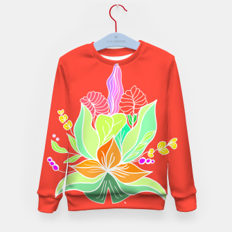 Thumbnail image of Colourful floral illustration on popcolors Kid's sweater, Live Heroes