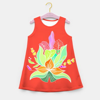 Thumbnail image of Colourful floral illustration on popcolors Girl's summer dress, Live Heroes