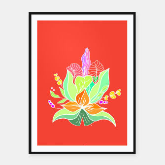 Thumbnail image of Colourful floral illustration on popcolors Framed poster, Live Heroes