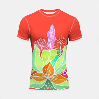 Thumbnail image of Colourful floral illustration on popcolors Shortsleeve rashguard, Live Heroes