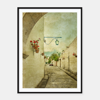 Thumbnail image of Vintage Grunge Arequipa Street, Peru Framed poster, Live Heroes