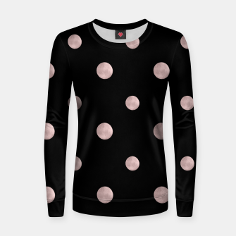 Happy Polka Dots Rose Gold on Black #1 #decor #art Frauen sweatshirt obraz miniatury