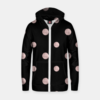 Happy Polka Dots Rose Gold on Black #1 #decor #art Reißverschluss kapuzenpullover obraz miniatury