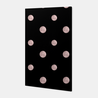 Happy Polka Dots Rose Gold on Black #1 #decor #art Canvas obraz miniatury
