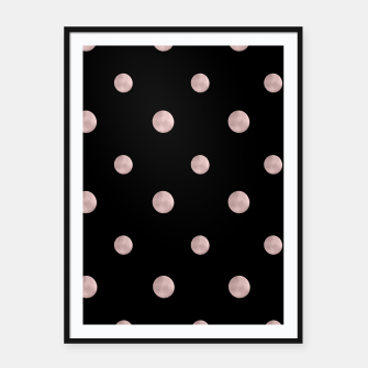 Happy Polka Dots Rose Gold on Black #1 #decor #art Plakat mit rahmen obraz miniatury