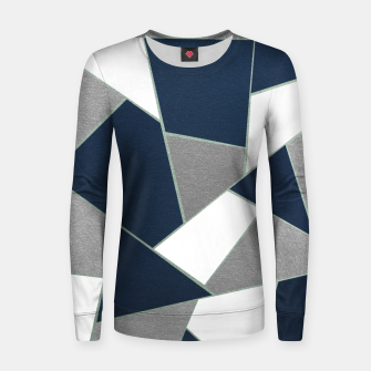 Thumbnail image of Navy Blue Gray White Mint Geometric Glam #1 #geo #decor #art Frauen sweatshirt, Live Heroes
