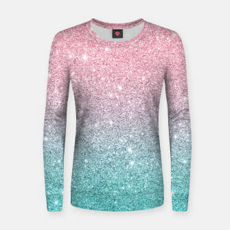 Thumbnail image of Pink and turquoise ombre glitter texture Women sweater, Live Heroes
