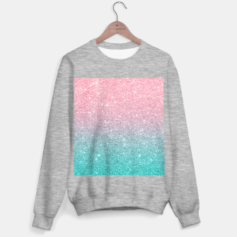 Thumbnail image of Pink and turquoise ombre glitter texture Sweater regular, Live Heroes