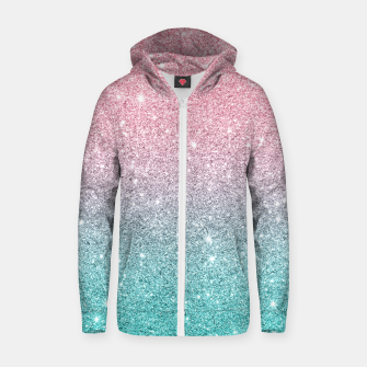 Thumbnail image of Pink and turquoise ombre glitter texture Zip up hoodie, Live Heroes