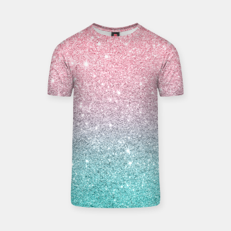Thumbnail image of Pink and turquoise ombre glitter texture T-shirt, Live Heroes