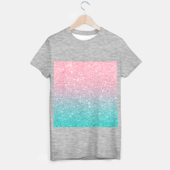 Thumbnail image of Pink and turquoise ombre glitter texture T-shirt regular, Live Heroes