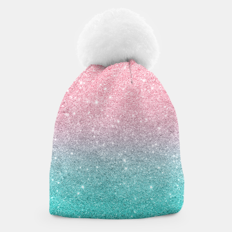 Thumbnail image of Pink and turquoise ombre glitter texture Beanie, Live Heroes