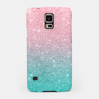 Miniatur Pink and turquoise ombre glitter texture Samsung Case, Live Heroes