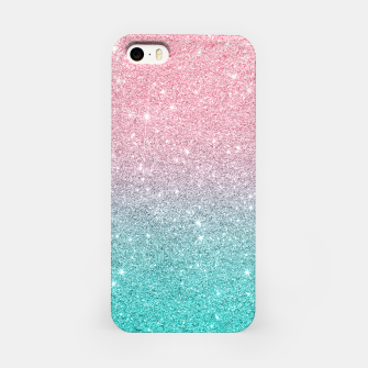 Miniatur Pink and turquoise ombre glitter texture iPhone Case, Live Heroes