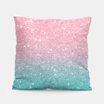 Thumbnail image of Pink and turquoise ombre glitter texture Pillow, Live Heroes