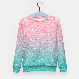 Thumbnail image of Pink and turquoise ombre glitter texture Kid's sweater, Live Heroes