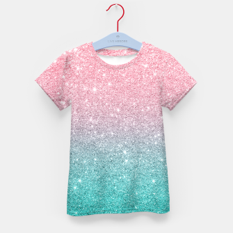 Thumbnail image of Pink and turquoise ombre glitter texture Kid's t-shirt, Live Heroes