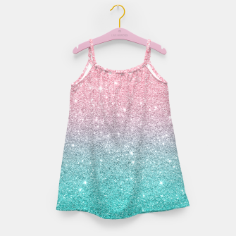 Miniatur Pink and turquoise ombre glitter texture Girl's dress, Live Heroes