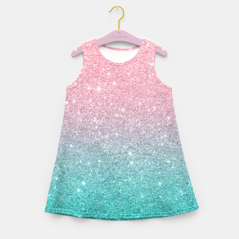 Miniatur Pink and turquoise ombre glitter texture Girl's summer dress, Live Heroes