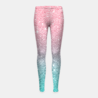 Thumbnail image of Pink and turquoise ombre glitter texture Girl's leggings, Live Heroes