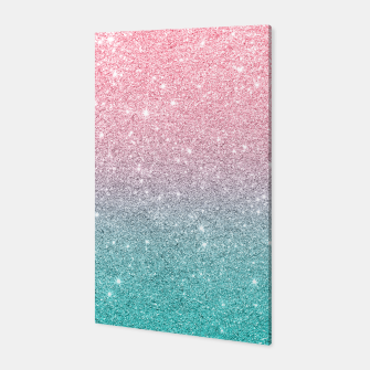 Thumbnail image of Pink and turquoise ombre glitter texture Canvas, Live Heroes