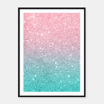 Thumbnail image of Pink and turquoise ombre glitter texture Framed poster, Live Heroes