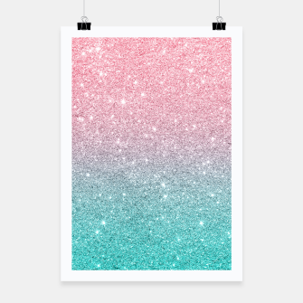 Thumbnail image of Pink and turquoise ombre glitter texture Poster, Live Heroes