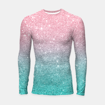 Thumbnail image of Pink and turquoise ombre glitter texture Longsleeve rashguard , Live Heroes