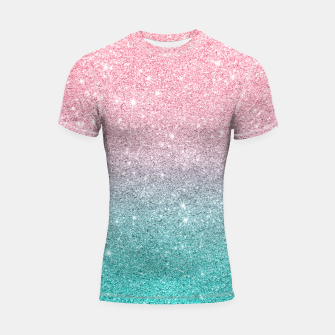 Thumbnail image of Pink and turquoise ombre glitter texture Shortsleeve rashguard, Live Heroes