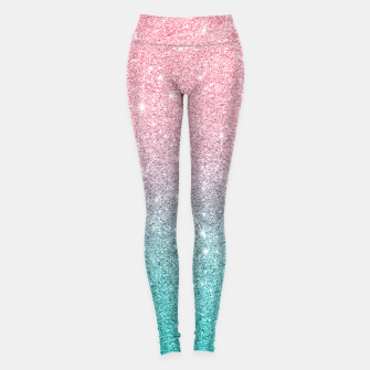 Thumbnail image of Pink and turquoise ombre glitter texture Leggings, Live Heroes