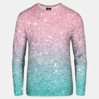 Thumbnail image of Pink and turquoise ombre glitter texture Unisex sweater, Live Heroes