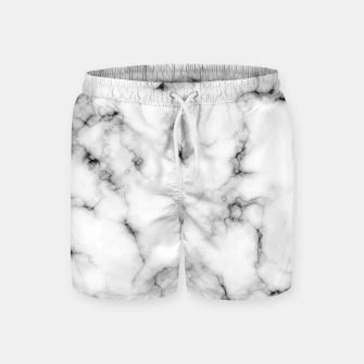Thumbnail image of White faux marble Swim Shorts, Live Heroes
