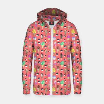 Miniature de image de Ice Cream Pattern-Coral Color Zip up hoodie, Live Heroes