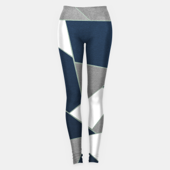 Thumbnail image of Navy Blue Gray White Mint Geometric Glam #1 #geo #decor #art Leggings, Live Heroes