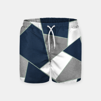 Thumbnail image of Navy Blue Gray White Mint Geometric Glam #1 #geo #decor #art Badeshorts, Live Heroes
