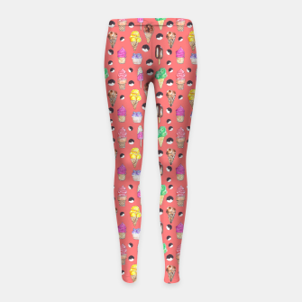 Miniature de image de Ice Cream Pattern-Coral Color Girl's leggings, Live Heroes