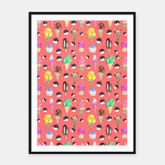 Miniature de image de Ice Cream Pattern-Coral Color Framed poster, Live Heroes