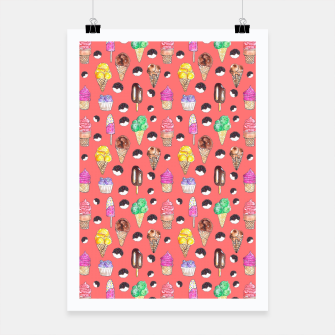 Miniature de image de Ice Cream Pattern-Coral Color Poster, Live Heroes