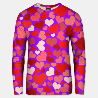 Thumbnail image of Hearts in purple Unisex sweater, Live Heroes