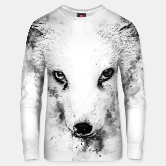 arctic fox bicolor eyes ws bw Unisex sweater miniature