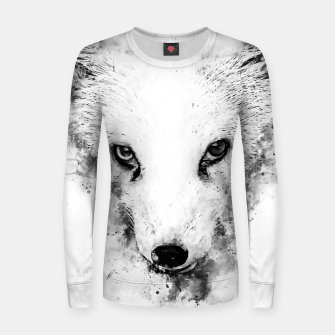 arctic fox bicolor eyes ws bw Women sweater miniature