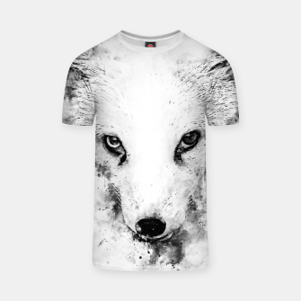 arctic fox bicolor eyes ws bw T-shirt miniature