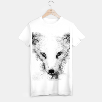 arctic fox bicolor eyes ws bw T-shirt regular miniature