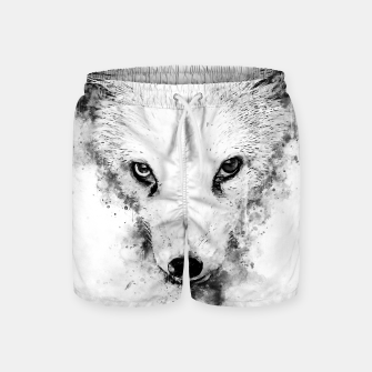 arctic fox bicolor eyes ws bw Swim Shorts miniature