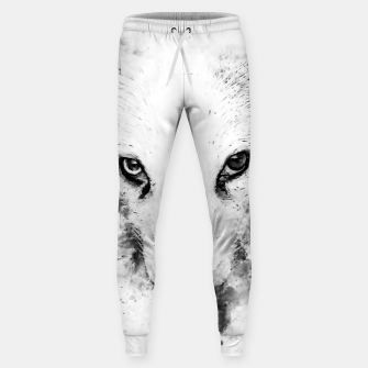 arctic fox bicolor eyes ws bw Sweatpants miniature
