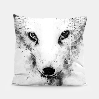 arctic fox bicolor eyes ws bw Pillow miniature