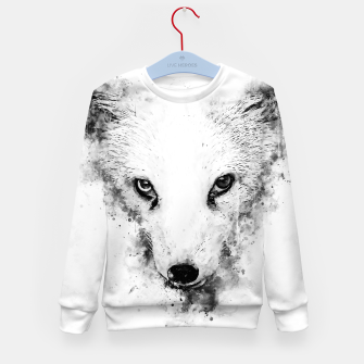 arctic fox bicolor eyes ws bw Kid's sweater miniature