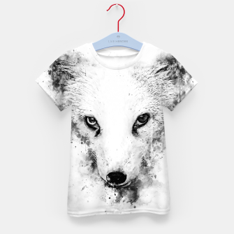 Thumbnail image of arctic fox bicolor eyes ws bw Kid's t-shirt, Live Heroes