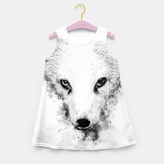 arctic fox bicolor eyes ws bw Girl's summer dress miniature