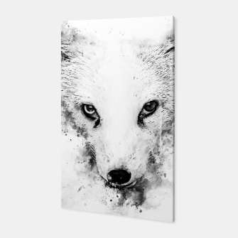 arctic fox bicolor eyes ws bw Canvas miniature